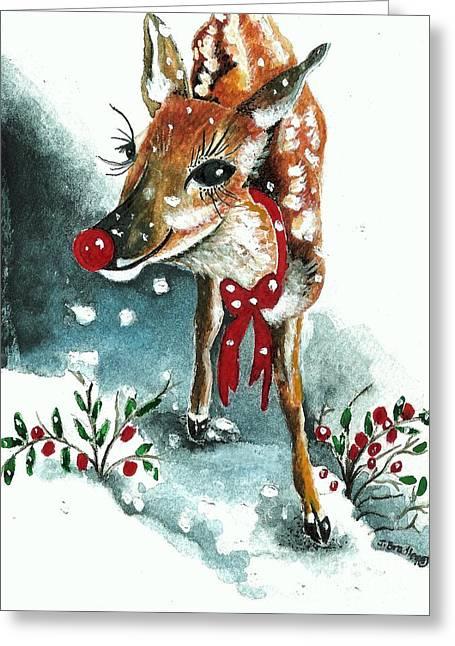 Rudolph Mixed Media Greeting Cards - Rudolf Greeting Card by Joy Bradley