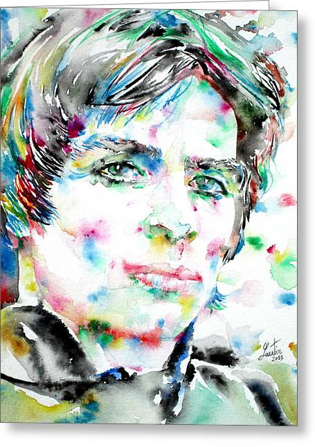 Rudolf Greeting Cards - RUDOLF NUREYEV watercolor portrait Greeting Card by Fabrizio Cassetta