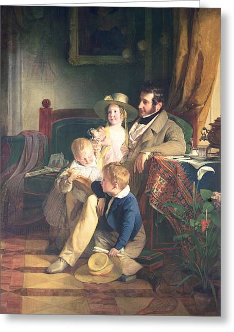 Parenthood Greeting Cards - Rudolf Von Arthaber 1795-1867 With His Children Rudolf, Emilie And Gustav Looking At The Portrait Greeting Card by Friedrich von Amerling