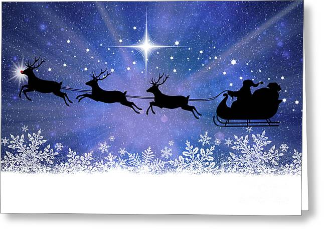 Rudolph Mixed Media Greeting Cards - Rudolph and the North Star Greeting Card by Mindy Bench