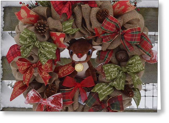 Rudolph Greeting Cards - Rudolph Christmas Wreath Greeting Card by Sharon Miller