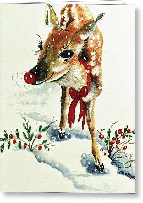 Sensational Paintings Greeting Cards - Rudolph Greeting Card by Joy Bradley