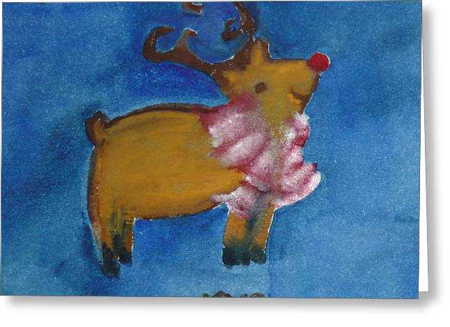 Rudolph Paintings Greeting Cards - Rudolph Greeting Card by Kimberly Maxwell Grantier