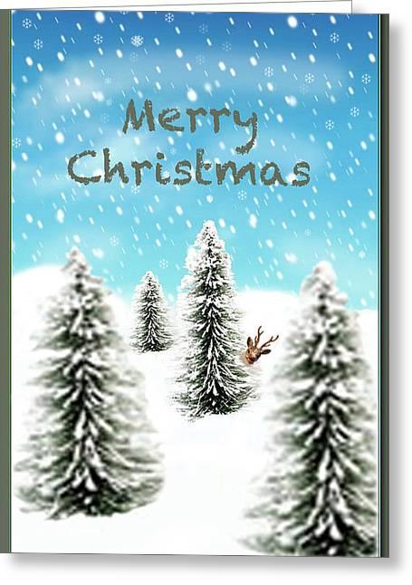 Rudolph Mixed Media Greeting Cards - Rudolph Merry Christmas Greeting Card by Debra     Vatalaro
