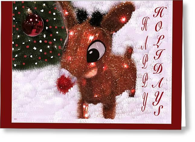 Rudolph Mixed Media Greeting Cards - Rudolph Reindeer Card Greeting Card by Debra     Vatalaro