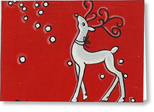 Rudolph Paintings Greeting Cards - Rudolph the Red Nose Raindeer Greeting Card by Peni Baker