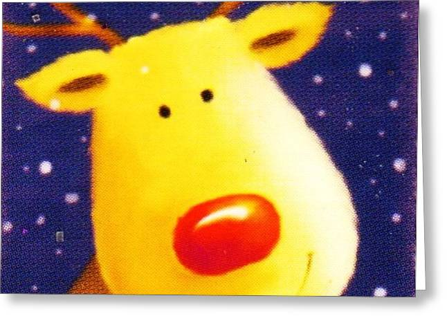 Rudolph Mixed Media Greeting Cards - Rudolph the Red-Nosed Reindeer Greeting Card by Anne-Elizabeth Whiteway