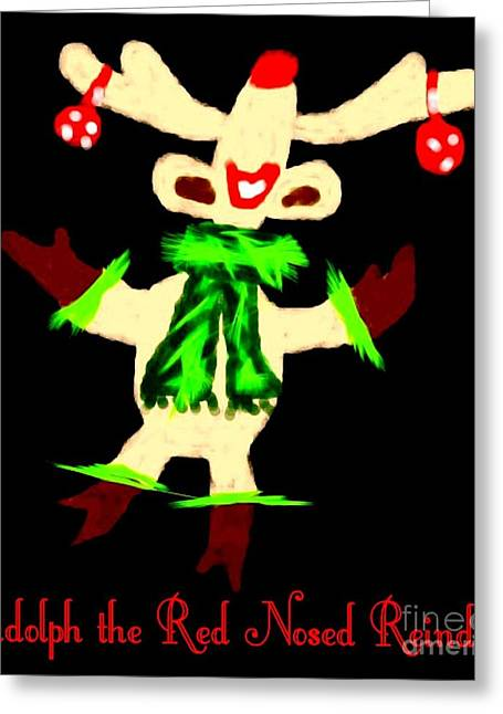Rudolph Greeting Cards - Rudolph the Red Nosed Reindeer Greeting Card by Gail Matthews