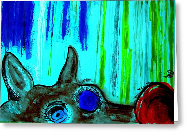 Rudolph Mixed Media Greeting Cards - Rudolph the Red Greeting Card by Ronald Oliver