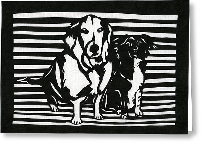 Collie Mixed Media Greeting Cards - Rudy and Roxy Greeting Card by Ellen Sauer