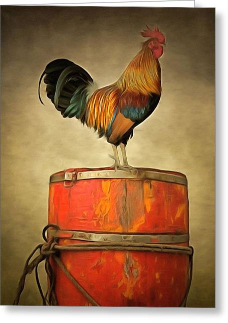 Rudy Greeting Cards - Rudy the Rooster Greeting Card by L Wright