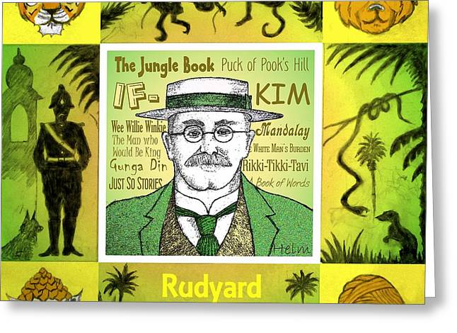 Kim Drawings Greeting Cards - Rudyard KIPLING Greeting Card by Paul Helm