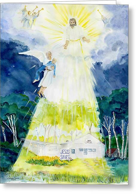 Seraphim Angel Greeting Cards - Rudys Muffler Shop Greeting Card by Susan Crossman Buscho