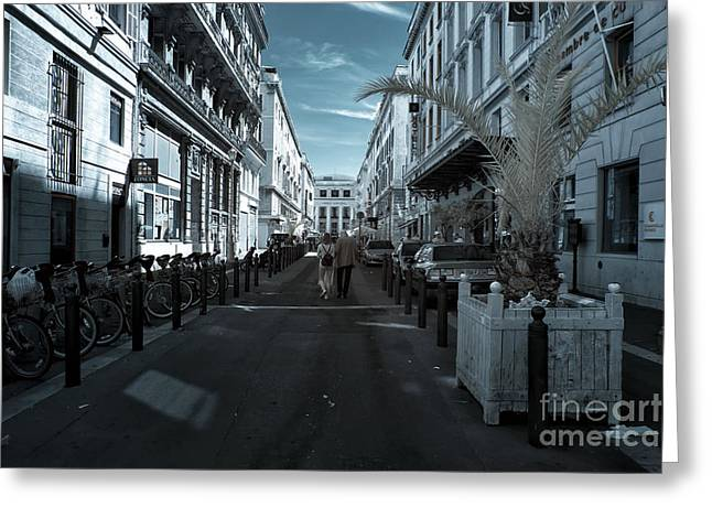 D.w Greeting Cards - Rue Beauvau Greeting Card by John Rizzuto