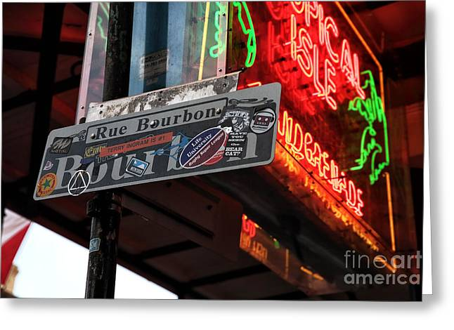 Tropical City Prints Greeting Cards - Rue Bourbon Sign Greeting Card by John Rizzuto