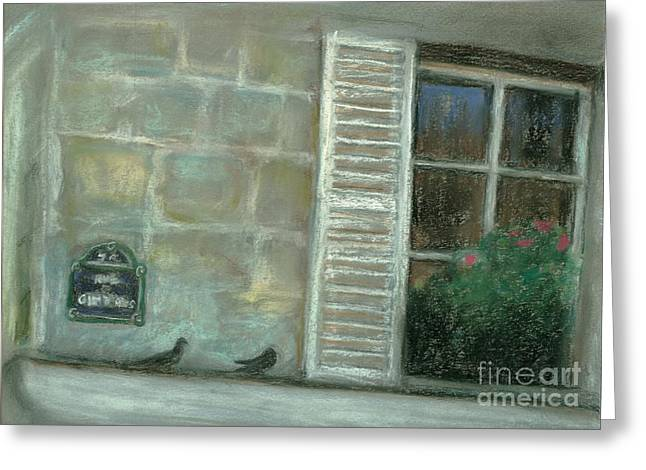 Flower Boxes Pastels Greeting Cards - Rue Cler Greeting Card by Christine Jepsen