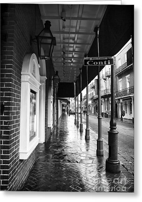 Rue Bourbon Greeting Cards - Rue Conti Greeting Card by John Rizzuto