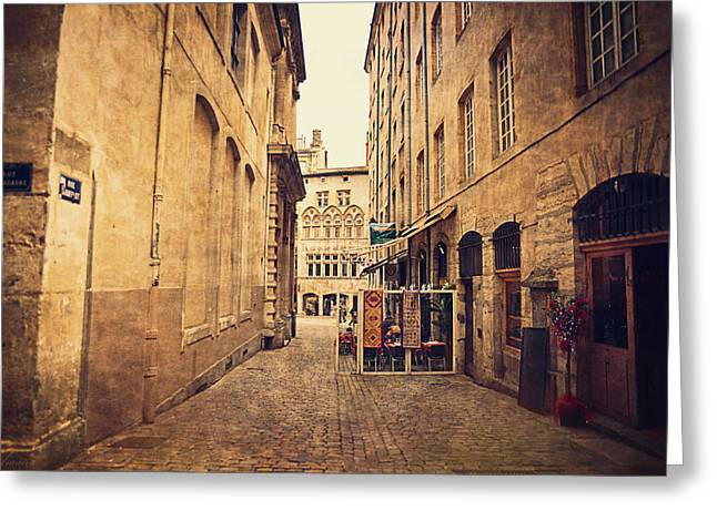 Historic Home Greeting Cards - Rue de Gadagne - Lyon Greeting Card by Maria Angelica Maira