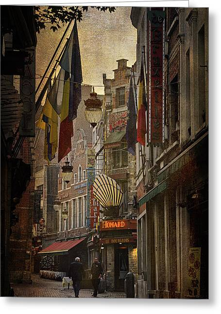 Bruxelles Greeting Cards - Rue des Bouchers Greeting Card by Joan Carroll