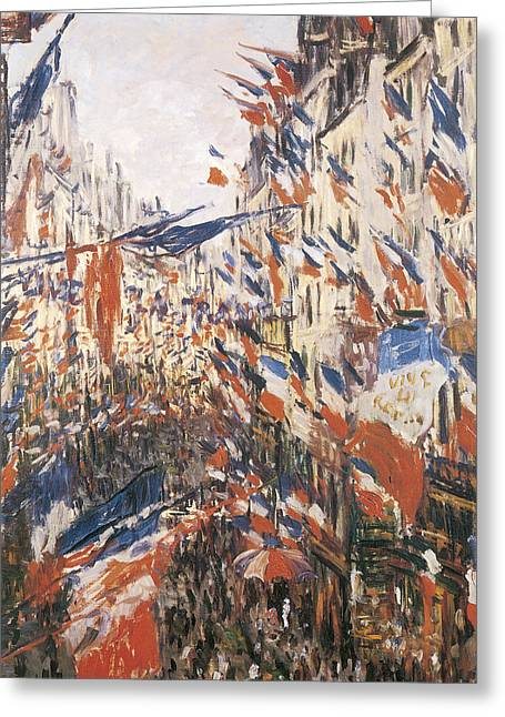 Rue Greeting Cards - Rue Montorgeuil Decked with Flags Greeting Card by Claude Monet