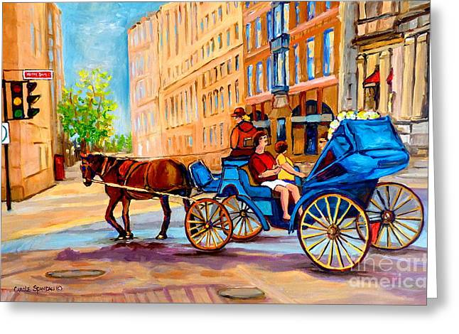 Horse And Buggy Paintings Greeting Cards - Rue Notre Dame Caleche Ride Greeting Card by Carole Spandau