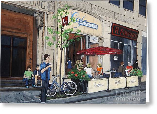 City Of Montreal Paintings Greeting Cards - Rue Peel Greeting Card by Reb Frost