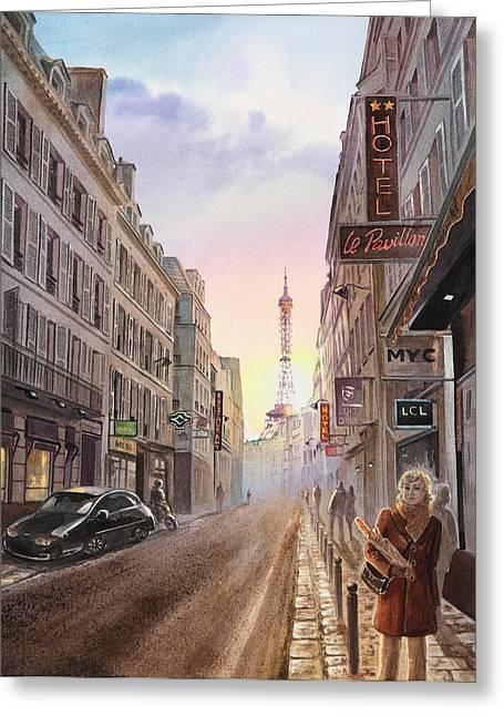 Paris Buildings Greeting Cards - Rue Saint Dominique Sunset Through Eiffel Tower   Greeting Card by Irina Sztukowski