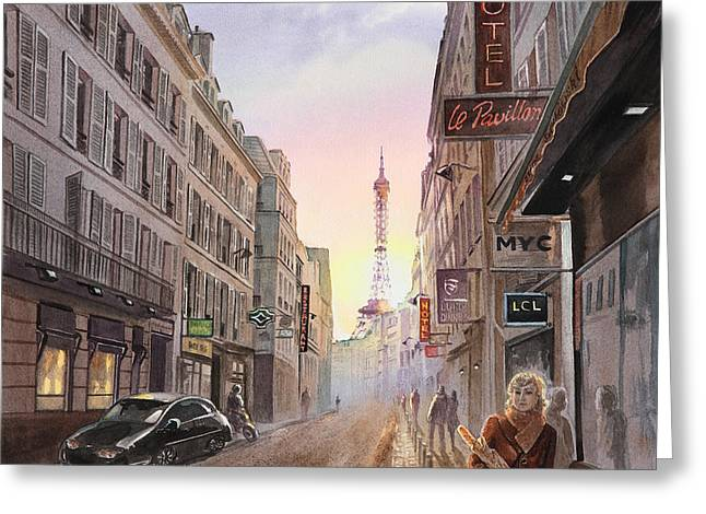 French Memories Greeting Cards - Rue Saint Dominique Sunset Through Eiffel Tower   Greeting Card by Irina Sztukowski
