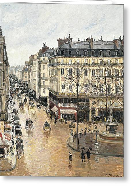 Honore Greeting Cards - Rue Saint Honore in the Afternoon. Effect of Rain Greeting Card by Camille Pissarro