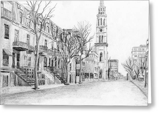Ste Catherine Greeting Cards - Rue St-Denis Greeting Card by Duane Gordon