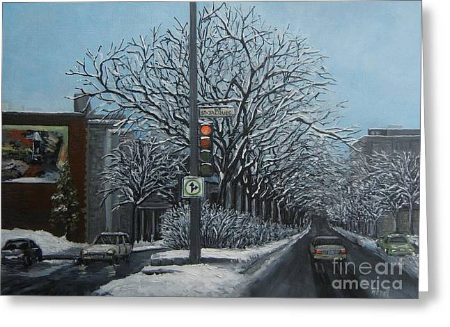 Montreal Winter Scenes Paintings Greeting Cards - Rue St Jacques Greeting Card by Reb Frost