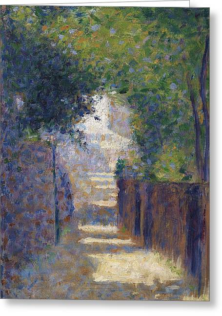 Pointillist Paintings Greeting Cards - Rue St. Vincent In Spring, C.1884 Greeting Card by Georges Pierre Seurat