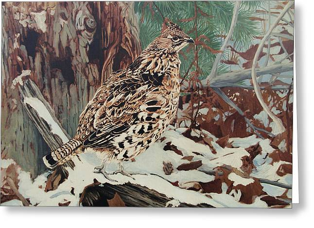 Ruff Greeting Cards - Ruffed Grouse Greeting Card by Ken Everett