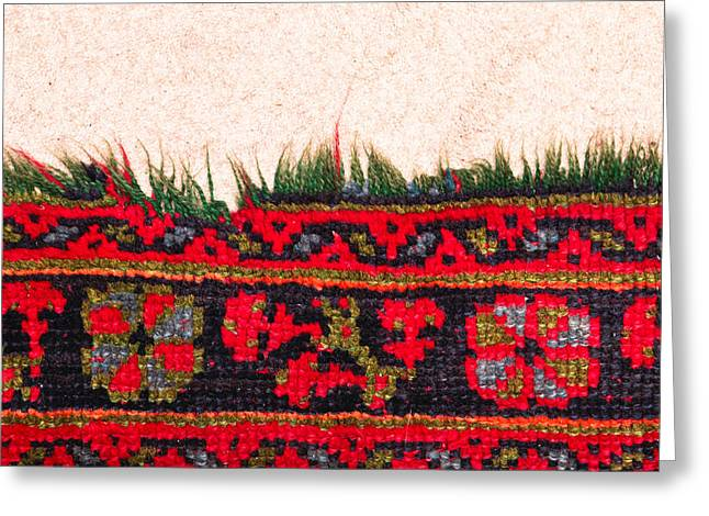 Tapestry Wool Greeting Cards - Rug pattern Greeting Card by Tom Gowanlock