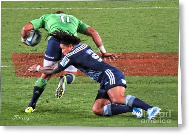Dread Locks Greeting Cards - Rugby Blues.NZ Greeting Card by Jennie Breeze