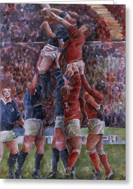 Game Greeting Cards - Rugby International, Wales V Scotland Wc On Paper Greeting Card by Gareth Lloyd Ball