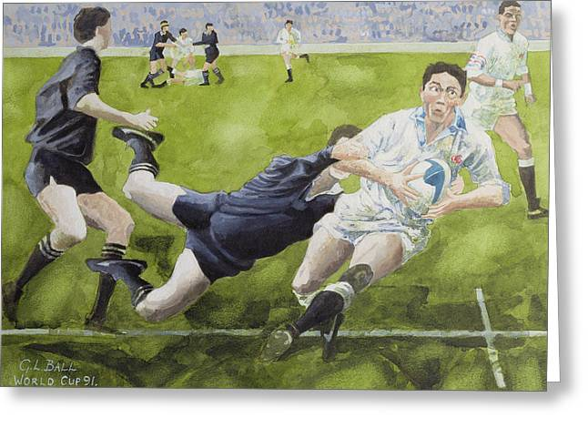 Rugby Match England V New Zealand In The World Cup, 1991, Rory Underwood Being Tackled Wc Greeting Card by Gareth Lloyd Ball