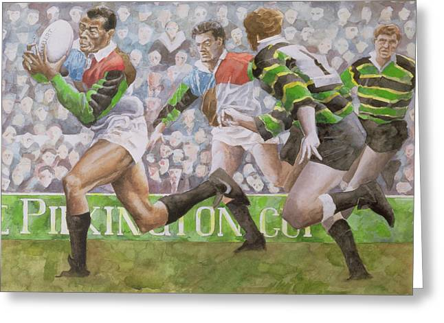 Running Greeting Cards - Rugby Match Harlequins V Northampton, 1992 Wc Greeting Card by Gareth Lloyd Ball