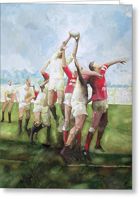 Jump Greeting Cards - Rugby Match Llanelli V Swansea, Line Out, 1992 Wc Greeting Card by Gareth Lloyd Ball