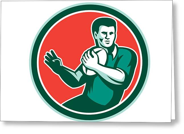 Rugby League Greeting Cards - Rugby Player Ball Hand Out Circle Retro Greeting Card by Aloysius Patrimonio