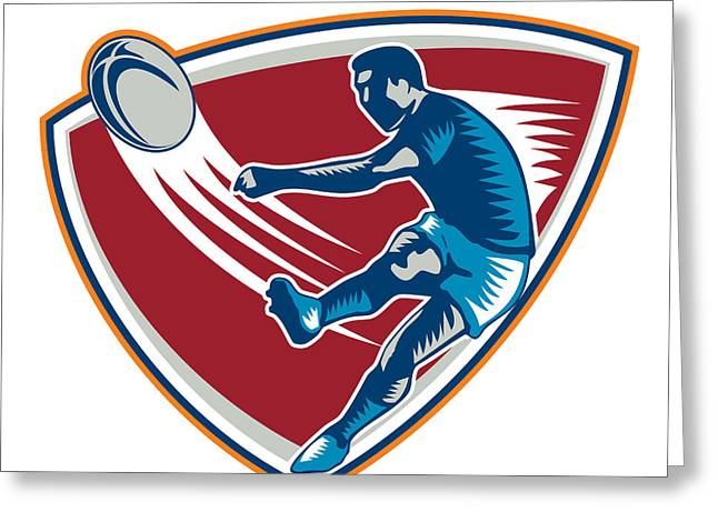 Rugby Player Kicking Ball Shield Woodcut Greeting Card by Aloysius Patrimonio