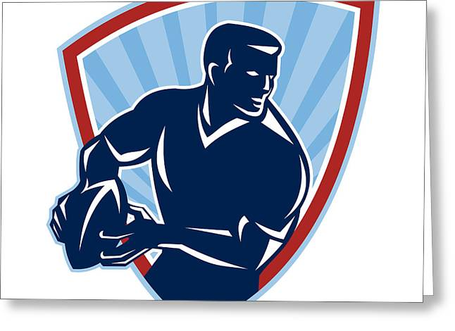 Rugby League Greeting Cards - Rugby Player Passing Ball Shield Retro Greeting Card by Aloysius Patrimonio