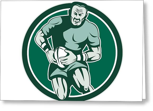 Rugby League Greeting Cards - Rugby Player Running Attacking Circle Retro Greeting Card by Aloysius Patrimonio