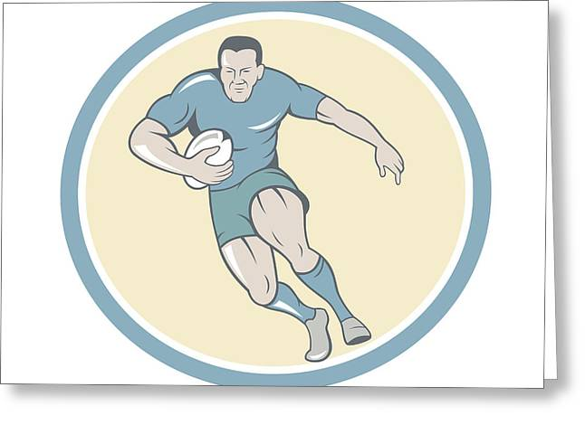 Rugby Player Running Ball Circle Cartoon Greeting Card by Aloysius Patrimonio