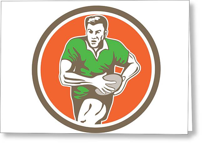 Rugby Player Running Ball Circle Retro Greeting Card by Aloysius Patrimonio