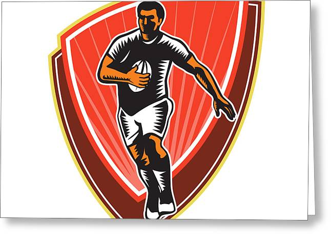 Rugby Player Running Ball Front Woodcut Greeting Card by Aloysius Patrimonio
