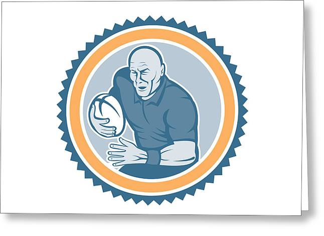 Rosette Greeting Cards - Rugby Player Running Ball Rosette Cartoon Greeting Card by Aloysius Patrimonio
