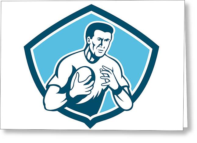 Rugby Player Running Ball Shield Cartoon Greeting Card by Aloysius Patrimonio