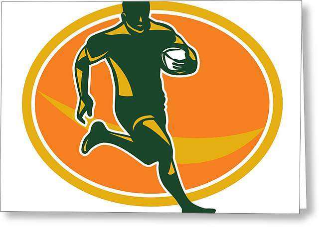 Rugby League Greeting Cards - Rugby Player Running Ball Silhouette Greeting Card by Aloysius Patrimonio