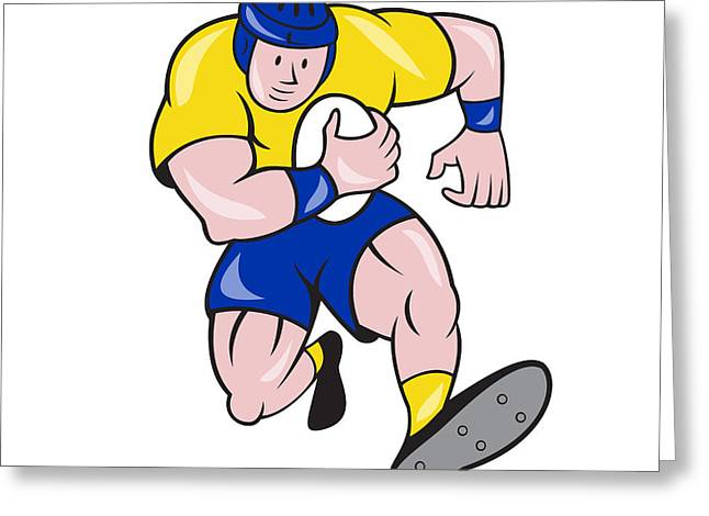 Rugby Player Running Charging Cartoon Greeting Card by Aloysius Patrimonio